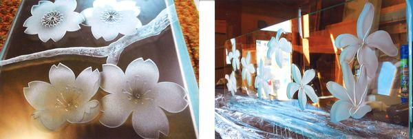 新春は花のエッチングガラスを。