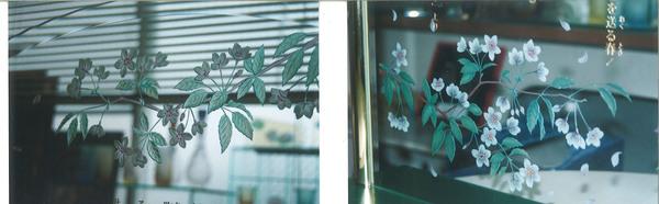 桜の彩色エッチングガラス