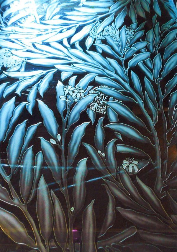 植物柄のエッチングガラス(ガラス彫刻)