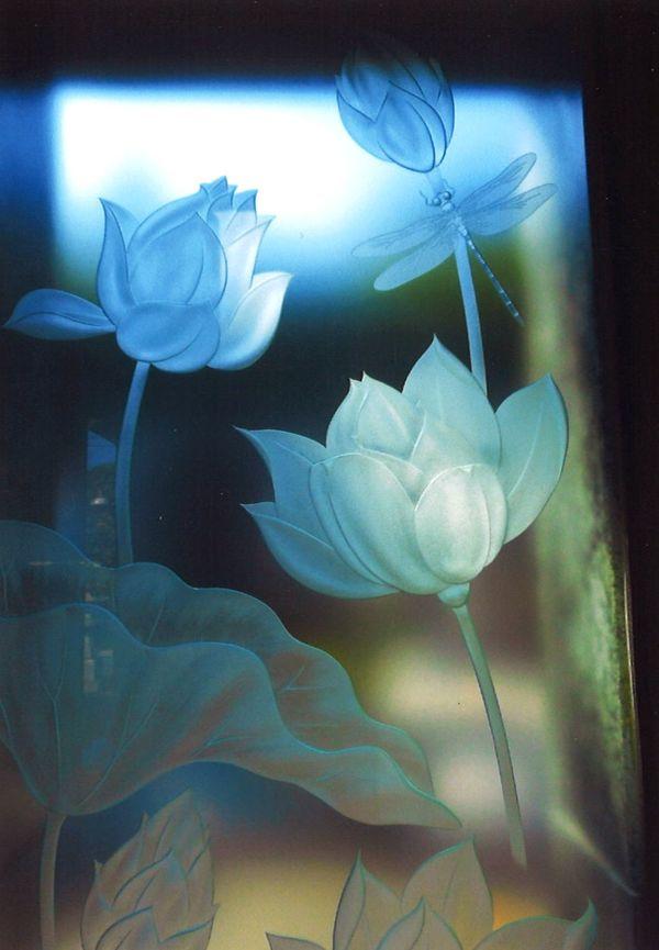 和風ガラス彫刻(エッチングガラス)