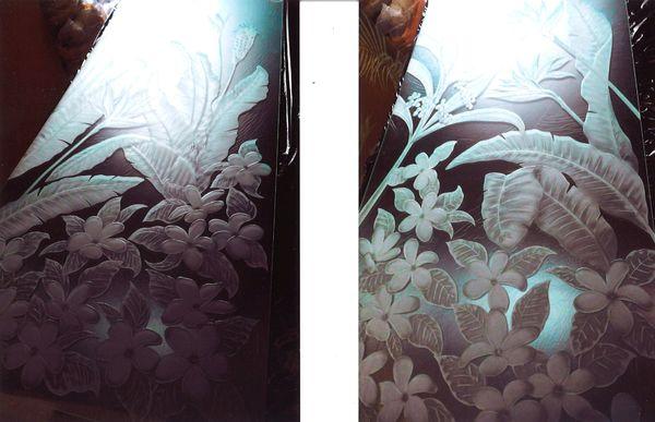 ハワイアンエッチングガラス(ガラス彫刻) 住宅 内装