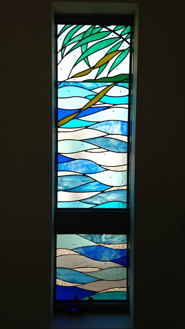 海のイメージのステンドグラス(住宅ステンドグラス)