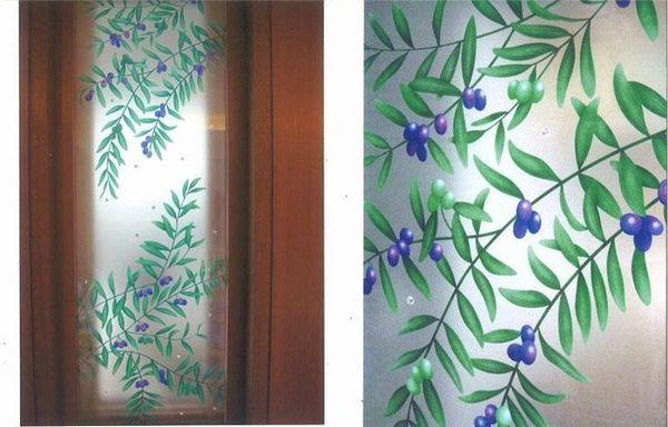 室内ドア 彩色 エッチングガラス(住宅アートガラス)