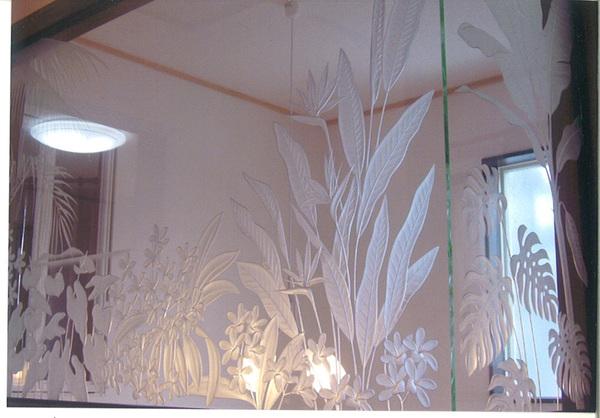ハワイアンエッチングガラス・エッチングミラー(住宅アートガラス)