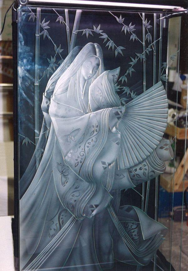 和デザインのエッチングアートガラス(建築店舗エッチングガラス)