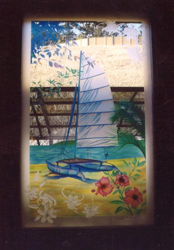 夏イメージのエッチングアートガラス(建築・ホテル・エッチングガラス)