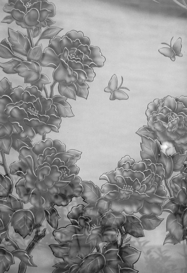 和風のエッチングガラス(建築・フューネラルアートガラス)