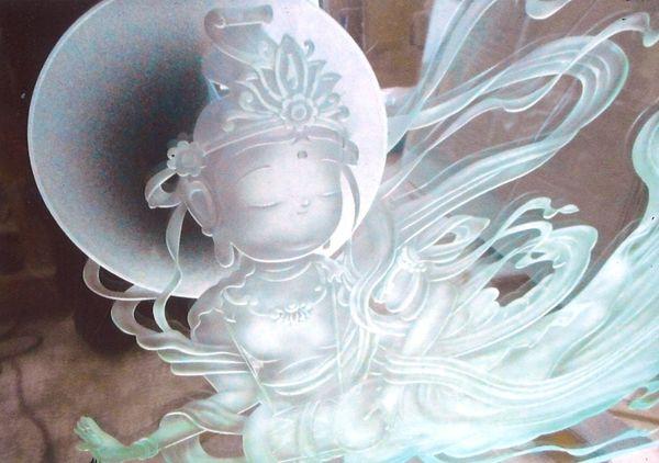 天女エッチングガラス(建築・フューネラルアートガラス)