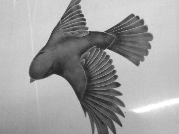 陰影技法の小鳥