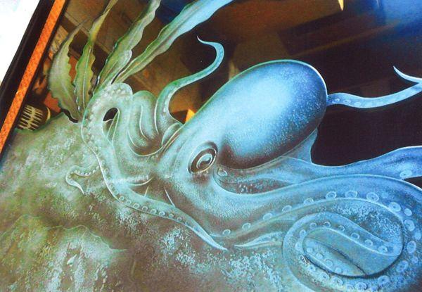 エッチングガラス 蛸 (建築・店舗エッチングアートガラス)