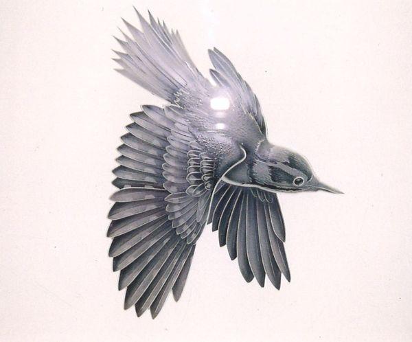 鳥のエッチングガラス(建築アートガラス・ガラスオブジェ)