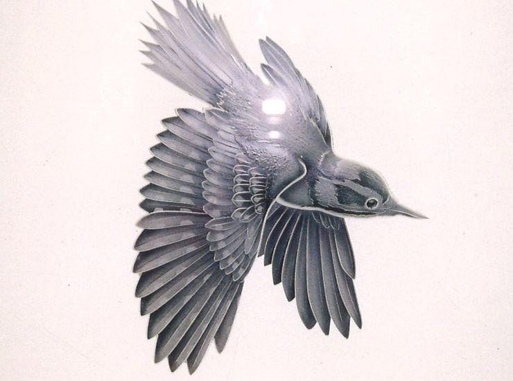 小鳥のエッチングガラスのサムネイル