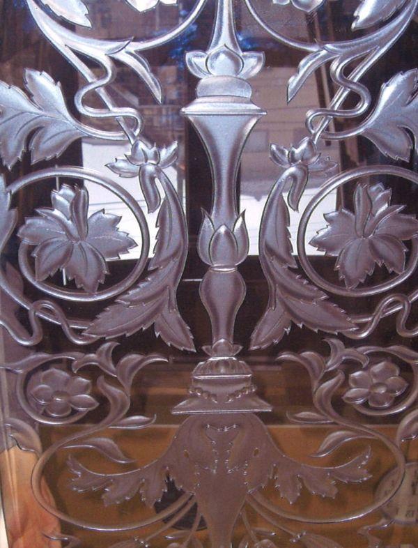 飾り模様のエッチングガラス(建築・店舗エッチングアートガラス)