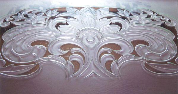 欄間のエッチングガラス(ガラス彫刻)