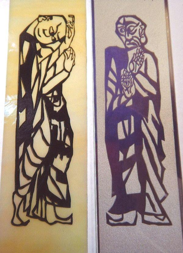 平彫り仕様のエッチングガラス(照明アートガラス)