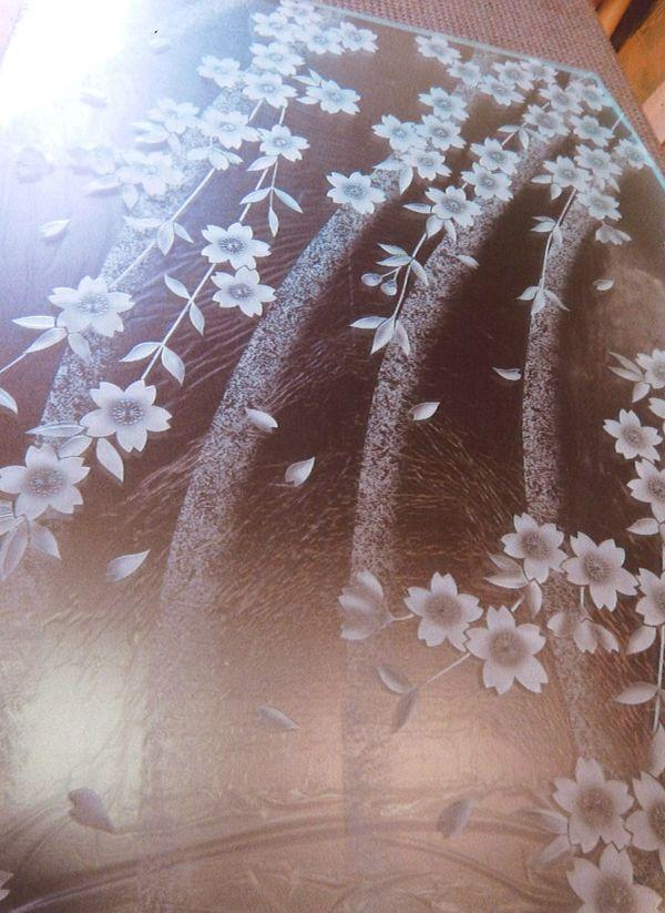 サンドブラスト桜(ガラス墓石)