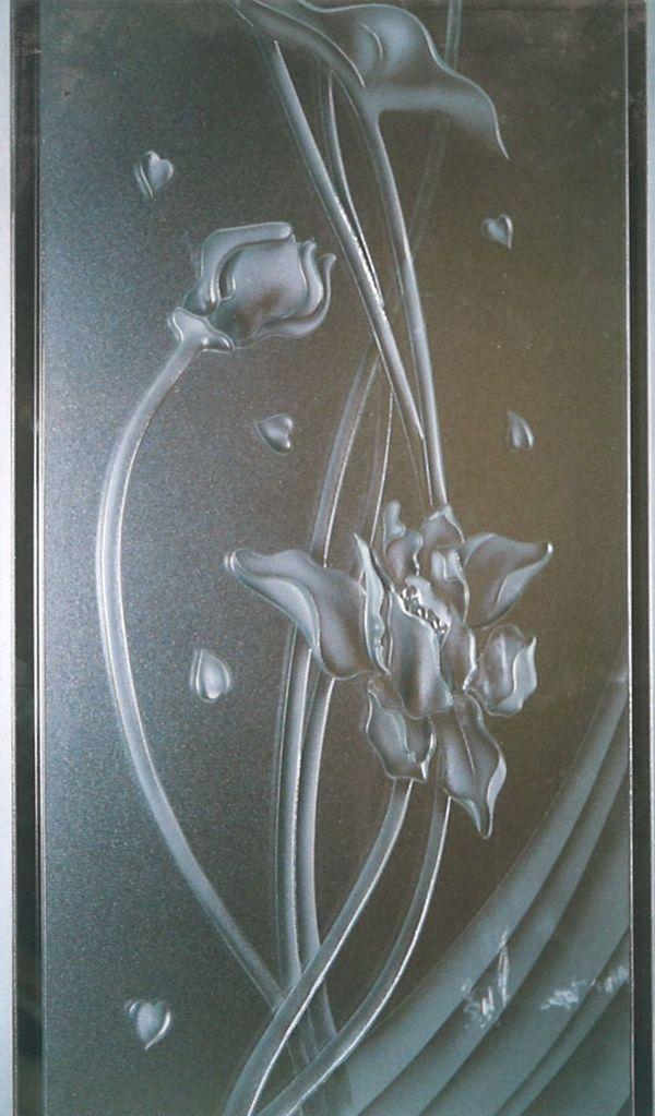 和風の花のエッチングガラス(店舗・住宅アートガラス)