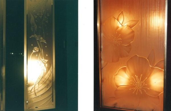 エッチングガラスの光(店舗・住宅アートガラス)