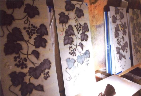 植物エッチングガラス(店舗・住宅アートガラス)