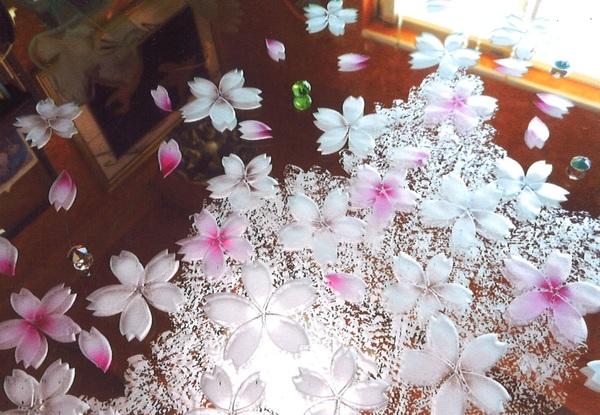 エッチングミラー桜 (建築・店舗・住宅アートミラー)