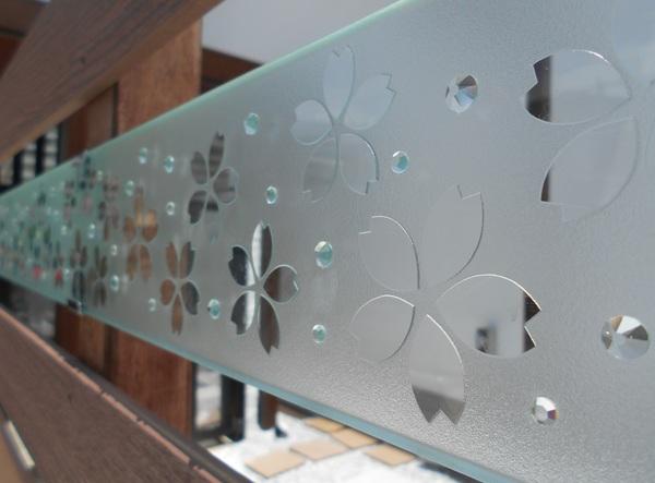 間仕切りエッチングガラス(住宅アートガラス)