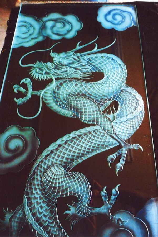 エッチングガラス龍(寺社ガラス彫刻)