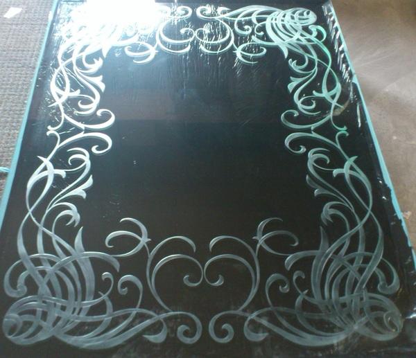 飾り枠エッチングアートガラス(店舗・住宅エッチングガラス)