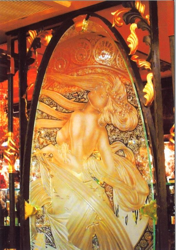 エッチングガラスミュシャ(店舗・住宅アートガラス)