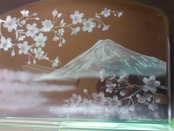 桜と富士のエッチングガラス(アートガラス)