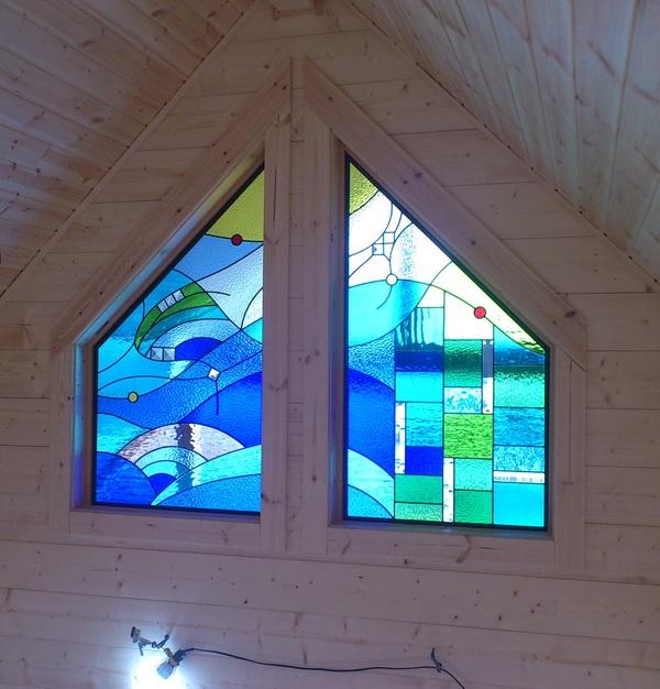 海イメージのステンドグラス(個人住宅ステンドグラス)