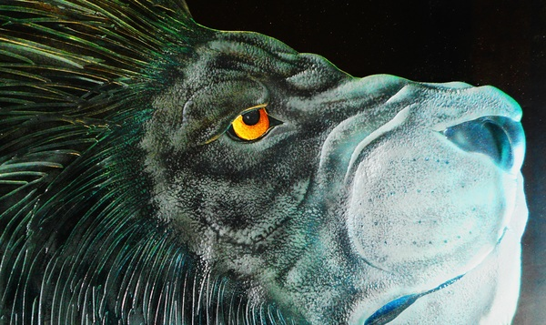 エッチングガラスライオン(ガラス彫刻)