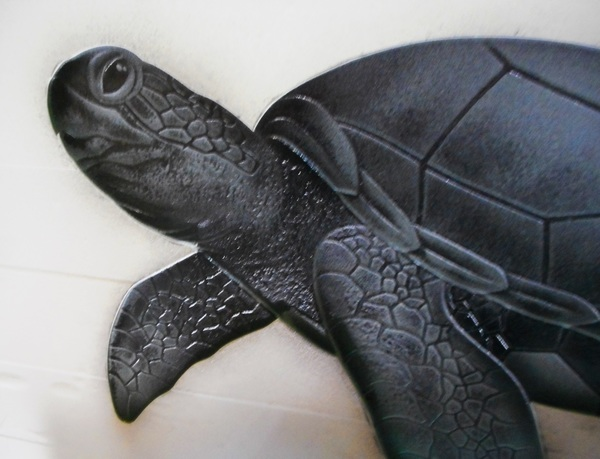 間仕切りエッチングガラス 海亀(住宅アートガラス)