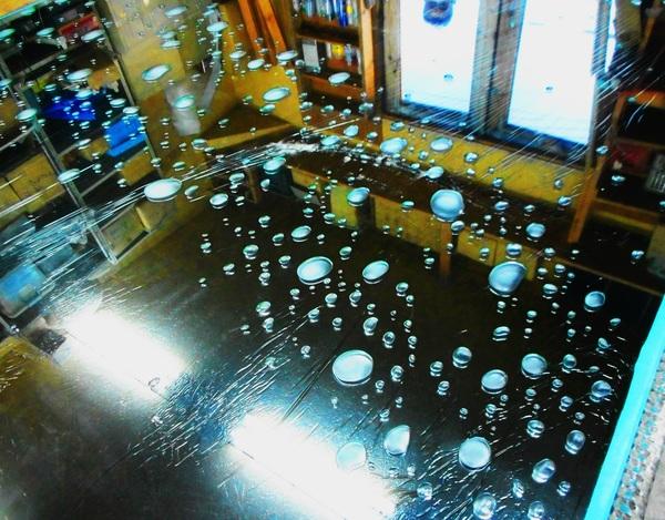 泡イメージエッチングガラス(住宅・店舗アートガラス)