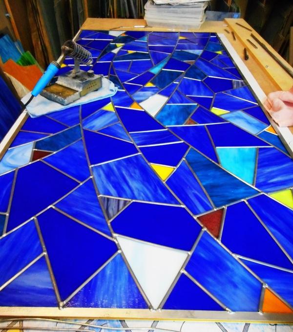 青のステンドグラス(店舗・住宅ステンドグラス)
