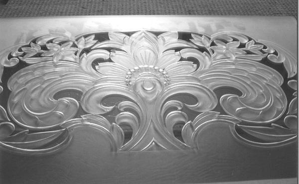 欄間ガラス彫刻(寺社アートガラス)